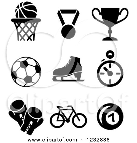 Clipart of Black and White Basketball Sports Icons - Royalty Free Vector Illustration by Vector Tradition SM