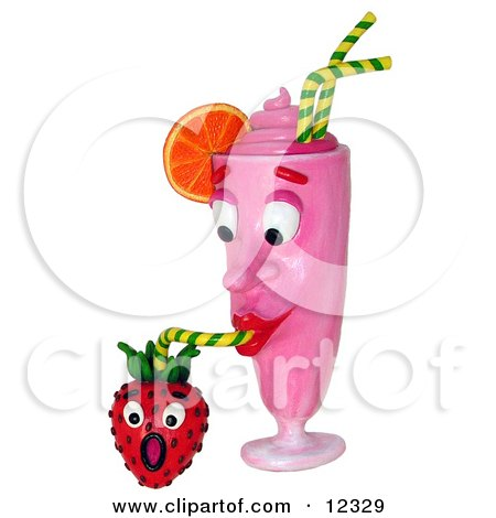 Clay Sculpture Clipart Strawberry Milkshake Drinking From A Berry - Royalty Free 3d Illustration  by Amy Vangsgard