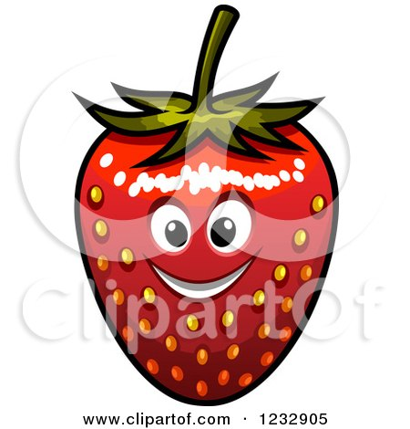 Clipart of a Happy Strawberry Smiling - Royalty Free Vector Illustration by Vector Tradition SM