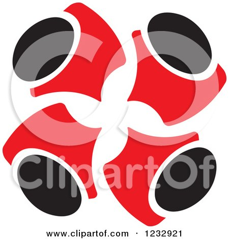 Clipart of Red and Black Abstract Team of People Huddled Logo - Royalty Free Vector Illustration by Vector Tradition SM
