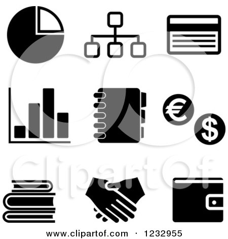 Clipart of Black and White Business Icons 2 - Royalty Free Vector Illustration by Vector Tradition SM