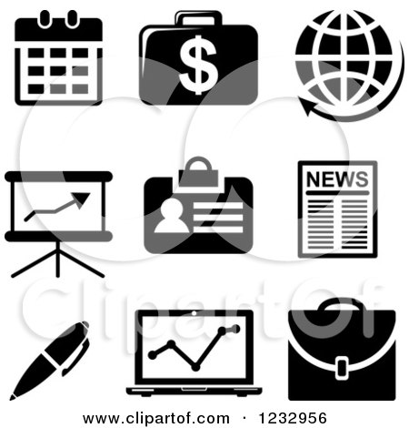 Clipart of Black and White Business Icons - Royalty Free Vector Illustration by Vector Tradition SM