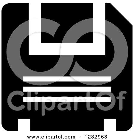 Clipart of a Black and White Floppy Drive Business Icon - Royalty Free Vector Illustration by Vector Tradition SM