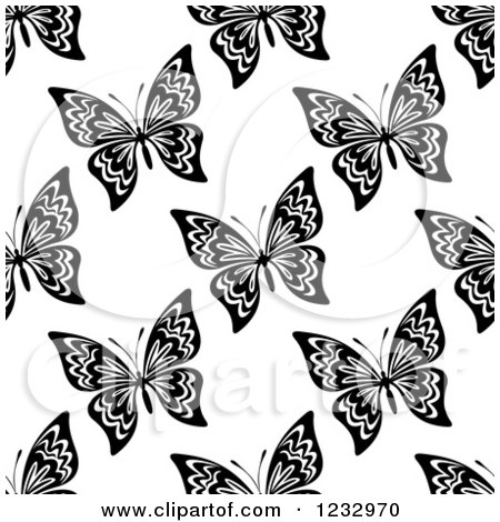 Clipart of a Seamless Black and White Butterfly Background Pattern 2 - Royalty Free Vector Illustration by Vector Tradition SM