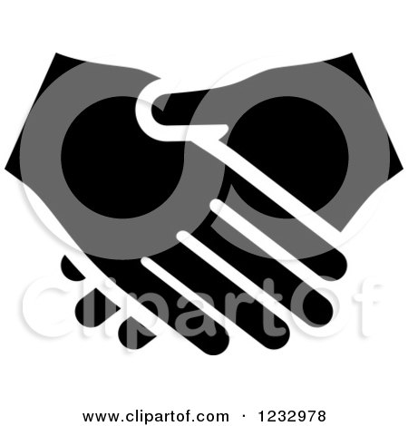 Clipart of a Black and White Handshake Business Icon - Royalty Free Vector Illustration by Vector Tradition SM