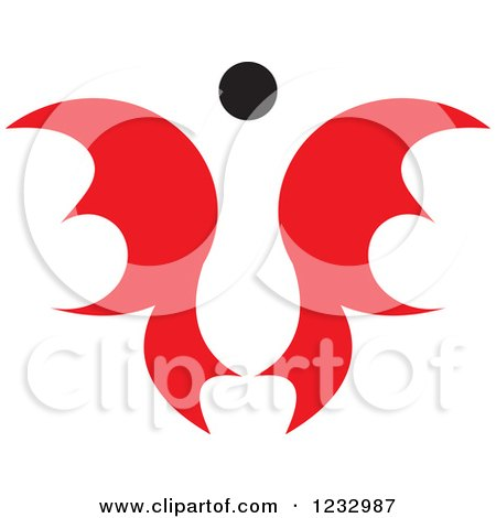 Clipart of a Red and Black Butterfly or Angel Logo 2 - Royalty Free Vector Illustration by Vector Tradition SM