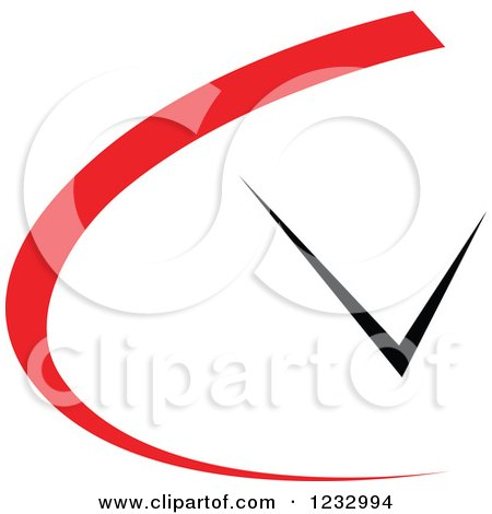 Clipart of a Red and Black Clock Logo - Royalty Free Vector Illustration by Vector Tradition SM