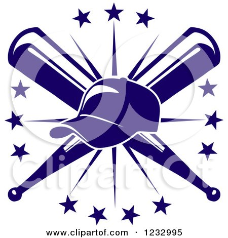Clipart of a Blue Baseball Cap over Crossed Bats and a Starburst - Royalty Free Vector Illustration by Vector Tradition SM