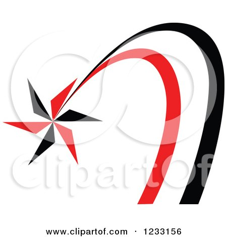 Clipart of a Red and Black Shooting Star Logo - Royalty Free Vector Illustration by Vector Tradition SM