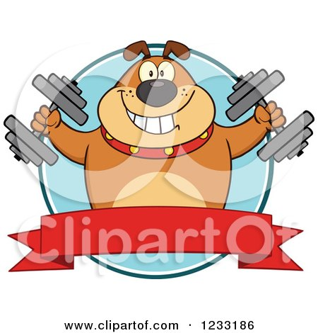 Clipart of a Brown Bulldog Working out with Dumbbells over a Banner - Royalty Free Vector Illustration by Hit Toon
