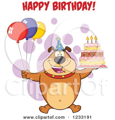 Clipart of a Brown Bulldog with Party Balloons a Cake and Happy Birthday Greeting - Royalty Free Vector Illustration by Hit Toon