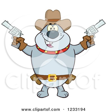 Clipart of a Gray Cowboy Bulldog Shooting Pistols - Royalty Free Vector Illustration by Hit Toon