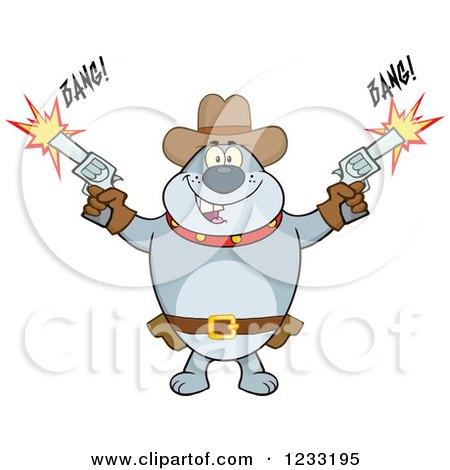 Clipart of a Gray Cowboy Bulldog Shooting Guns - Royalty Free Vector Illustration by Hit Toon