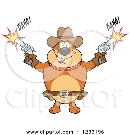 Clipart of a Brown Cowboy Bulldog Shooting Guns - Royalty Free Vector Illustration by Hit Toon