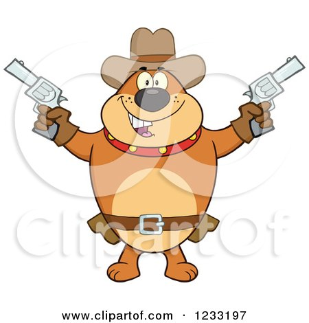 Clipart of a Brown Cowboy Bulldog Shooting Pistols - Royalty Free Vector Illustration by Hit Toon