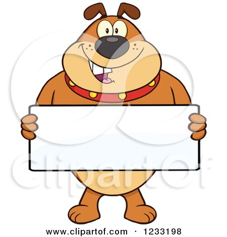 Clipart of a Brown Bulldog Holding a Sign - Royalty Free Vector Illustration by Hit Toon