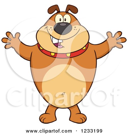 Clipart of a Brown Bulldog with Open Arms for a Hug - Royalty Free Vector Illustration by Hit Toon