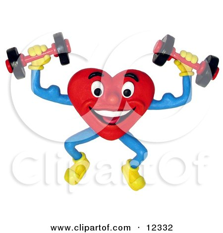 Clay Sculpture Clipart Healthy Heart Lifting Weights - Royalty Free 3d Illustration  by Amy Vangsgard