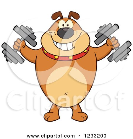 Clipart of a Brown Bulldog Working out with Dumbbells - Royalty Free Vector Illustration by Hit Toon