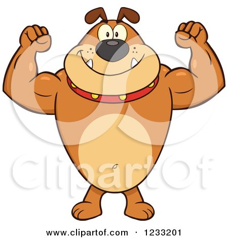 Clipart of a Strong Brown Bulldog Flexing His Arms - Royalty Free Vector Illustration by Hit Toon