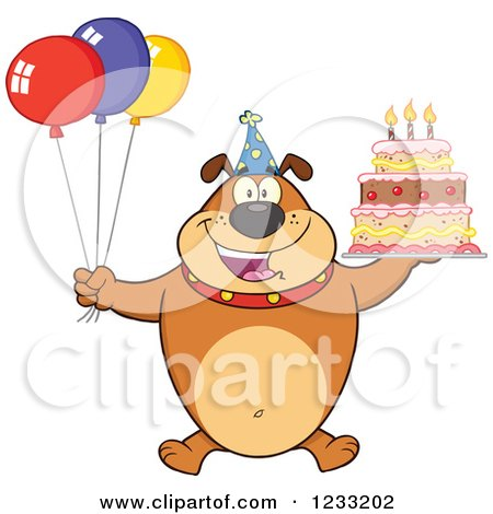 Clipart of a Brown Bulldog with Party Balloons and a Birthday Cake - Royalty Free Vector Illustration by Hit Toon