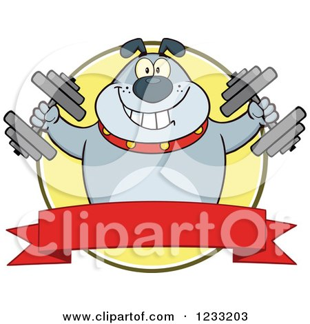 Clipart of a Gray Bulldog Working out with Dumbbells over a Banner - Royalty Free Vector Illustration by Hit Toon