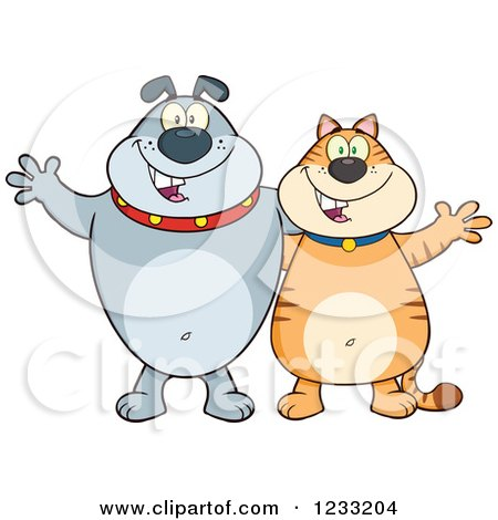 Clipart of a Gray Bulldog and Ginger Cat Welcoming - Royalty Free Vector Illustration by Hit Toon
