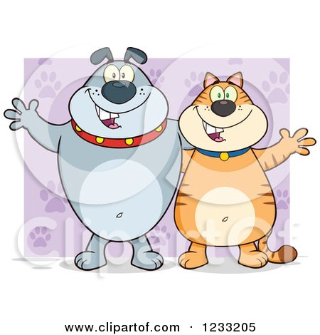 Clipart of a Gray Bulldog and Ginger Cat Welcoming over Purple - Royalty Free Vector Illustration by Hit Toon