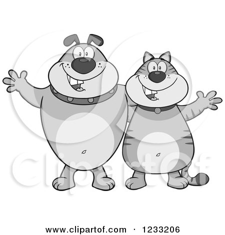 Clipart of a Grayscale Bulldog and Cat Welcoming - Royalty Free Vector Illustration by Hit Toon