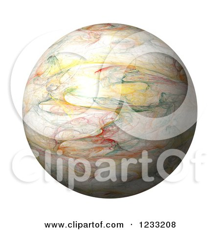 Clipart of a 3d Fractal Globe on White - Royalty Free Illustration by oboy