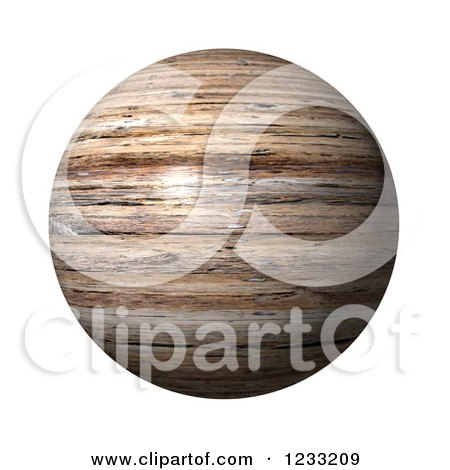 Clipart of a 3d Wooden Globe on White - Royalty Free Illustration by oboy