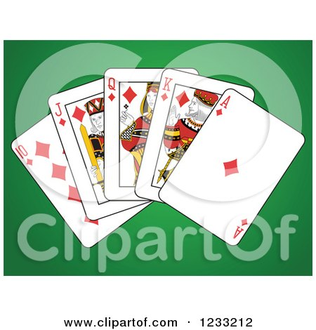 Clipart of Diamonds Royal Flush Playing Cards on Green - Royalty ...