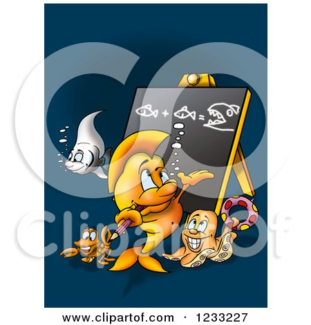 Clipart of a Fish Teacher and Students - Royalty Free Illustration by dero