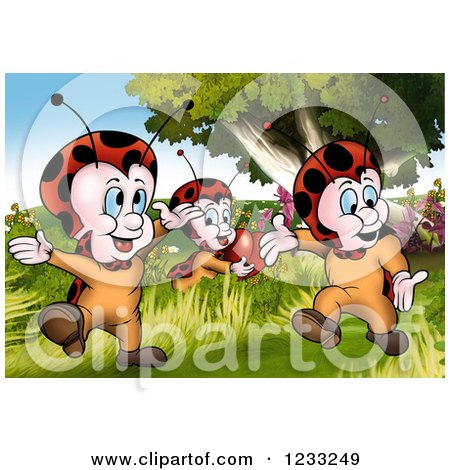 Clipart of Valentine Ladybugs in a Meadow - Royalty Free Illustration by dero