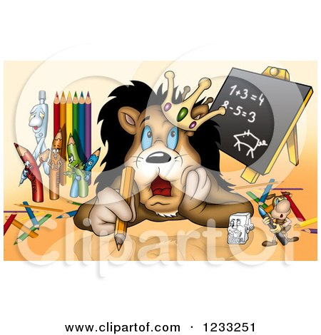 Clipart of a Lion King Thinking with Art Supplies - Royalty Free Illustration by dero