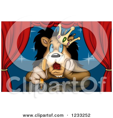 Clipart of a Lion King Thinking on Stage, with a Colored Pencil in Hand - Royalty Free Illustration by dero