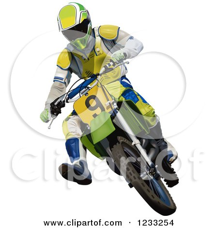 Clipart of a Motocross Man on a Dirt Bike - Royalty Free Vector Illustration by dero