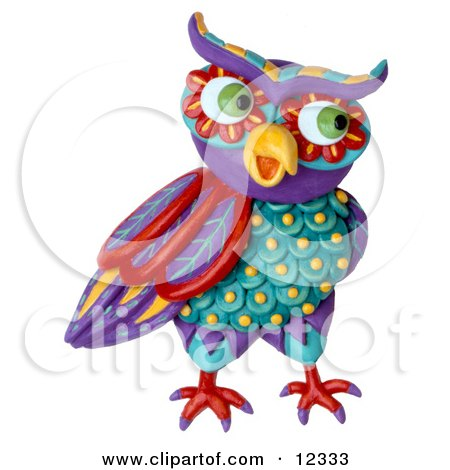 Clay Sculpture Clipart Decorative Owl Looking Right - Royalty Free 3d Illustration  by Amy Vangsgard