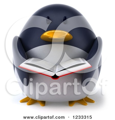 Clipart of a 3d Penguin Reading a Book - Royalty Free Illustration by Julos