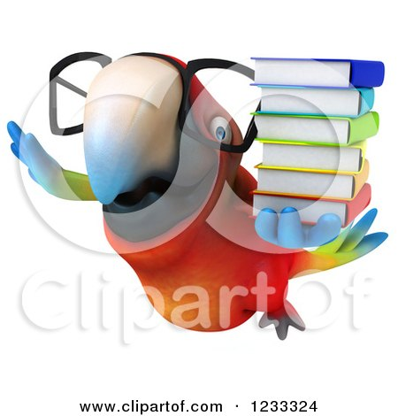 Clipart of a 3d Bespectacled Macaw Parrot Flying with a Stack of Books - Royalty Free Illustration by Julos