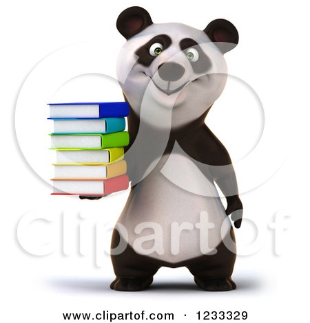 Clipart of a 3d Panda Holding a Stack of Books - Royalty Free Illustration by Julos