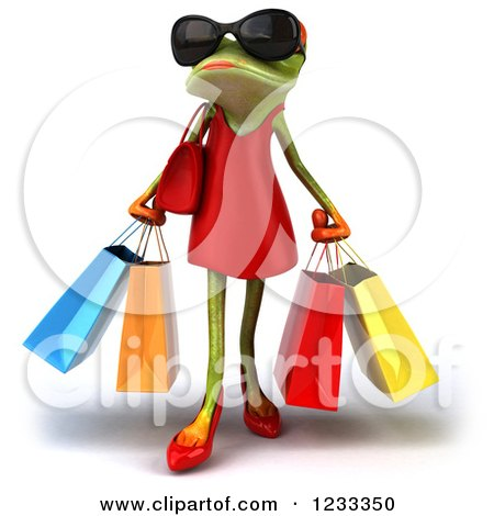 Clipart of a 3d Female Springer Frog Wearing Sunglasses and Carrying Shopping Bags - Royalty Free Illustration by Julos