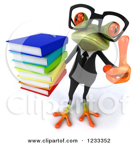 Clipart of a 3d Bespectacled Business Springer Frog Holding a Thumb up and a Stack of Books - Royalty Free Illustration by Julos