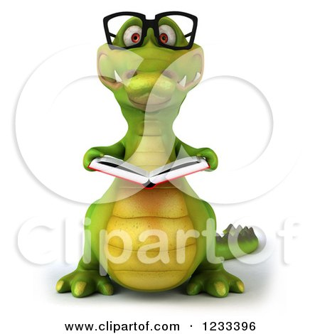 Clipart of a 3d Bespectacled Crocodile Reading a Book - Royalty Free Illustration by Julos