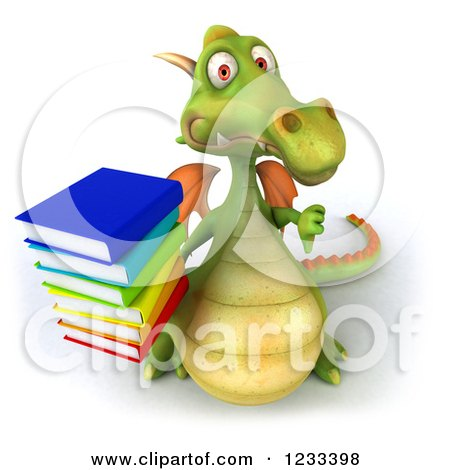 Clipart of a 3d Green Dragon Holding a Thumb down and Stack of Books - Royalty Free Illustration by Julos