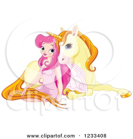 Clipart of a Pink Fairy Girl Cuddling with a Cute Yellow Unicorn - Royalty Free Vector Illustration by Pushkin