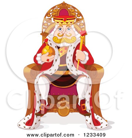 Clipart of a Royal King Sitting on His Throne - Royalty Free Vector Illustration by Pushkin