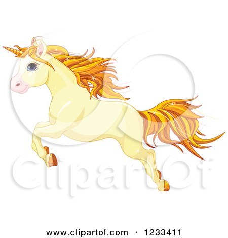 Clipart of a Cute Yellow Unicorn Leaping - Royalty Free Vector Illustration by Pushkin