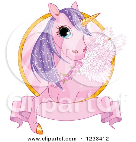 Clipart of a Cute Pink and Purple Winged Unicorn and Banner Label - Royalty Free Vector Illustration by Pushkin