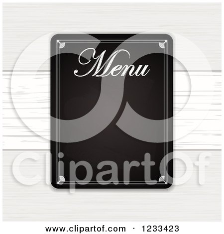 Clipart of a Restaurant Menu Blackboard over White Wood - Royalty Free Vector Illustration by elaineitalia